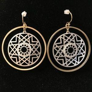 Geo Lazer cut hoop earrings